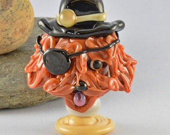 WANTED  Patch the Outlaw Focal Bead,  Lampwork Glass Bead, Glass Sculpture Collectible, Focal Bead, Izzybeads SRA