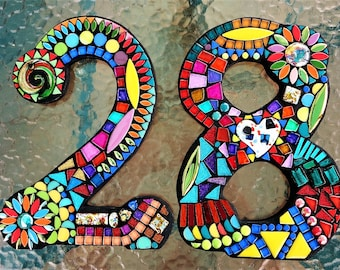 """MOSAIC HOUSE NUMBERS - 11"""" Tall - Customizable - Mixed Media  - Your Color Choice  - Order Your 11"""" Size Numbers From This Listing / Ooak!"""