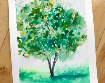 Original Tree Watercolor Painting, Landscape Painting, Fine Art, Nature, Modern Art, Ink, Minimalist, Bohemian