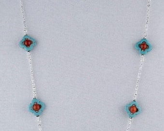 Turquoise and Red Agate Sterling Silver Statement Necklace