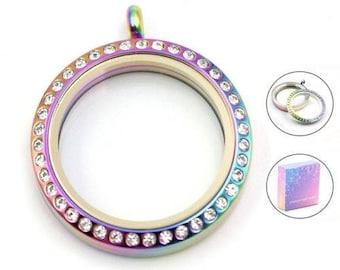 Rainbow Screw Top Stainless Steel Crystal Glass Memory Locket