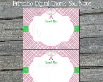 Tennis Party Thank You Card | Pink Green Thank You Note | Printable 5x7 Template | Preppy Argyle | Thanks for coming | INSTANT Download