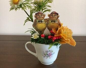 Vintage Teacup Assemblage Tweedle Dee and Tweedle Dum