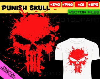 The Punisher Skull Logo SVG Wall Art Super Hero Marvel Vector Graphic for Cricut Silhouette Cameo Punisher Decal Svg Eps Png