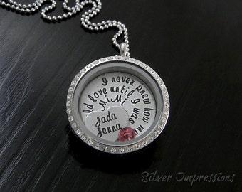 Floating Locket / Grandma Locket / Grandma Necklace / Hand Stamped Jewelry