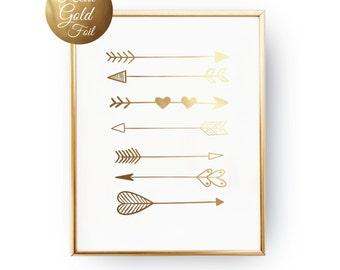 Gold Foil Arrow Print, Tribal Print, Bedroom Decor, Tribal Wall Art, Tribal Wall Decor, Arrow Decor, Real Gold Foil, Nursery Prints, 5x7