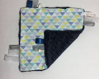 Pastel triangles and Navy Blue minky blanket