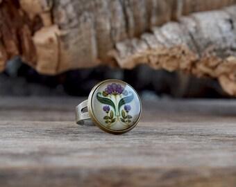 Purple green Art Nouveau ring, Art Nouveau jewelry, Modernism ring, Floral ring, Floral jewelry, Purple flowers ring, Vintage style AJ 052