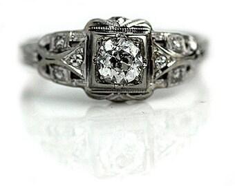 "Rare Vintage Engagement Ring, Unique Engagement Ring, European Cut 1930's White Gold Ring AD1821 "" The Dottie"""