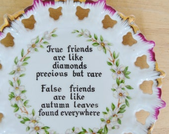 Vintage Loner Ceramic Wall Hanging Plate with Flowers and Interesting Quote