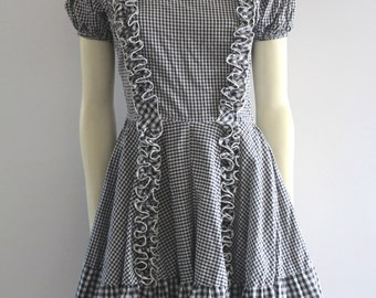 70's Vintage Gingham Big Baby Doll Ruffle Fit and Flare Dress