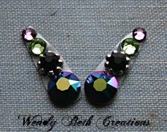 Peacock Deluxe Accent Bindi Pair - ATS, Tribal Fusion, Belly Dance, Facial Jewelry, Third Eye, Purple, Green, Black