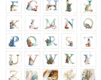 YOU PRINT!!! 1.25 Inch square diggie full page  print out Alphabet to  Make your own name Blocks... Tale of Peter Rabbit by Beatrix Potter