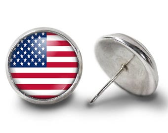 American Flag Earrings - USA Earrings - Patriotic Earrings - Stars and Stripes Earring (Pair) Lifetime Guarantee (E0372)