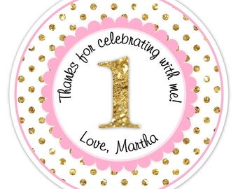 Custom 1st Birthday Labels, 1st Birthday Stickers -  Pink and Gold Glitter Polka Dots First Birthday, Personalized for you