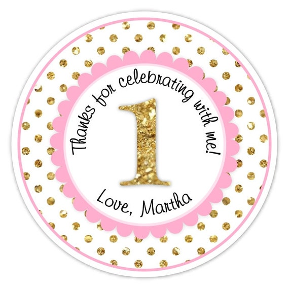 Custom 1st Birthday Labels 1st Birthday Stickers Pink And