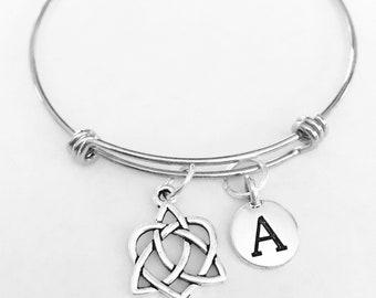 Celtic Knot Bangle Bracelet, Initial Bangle Bracelet, Celtic Irish Loyalty Friendship Gift Bangle Charm Bracelet