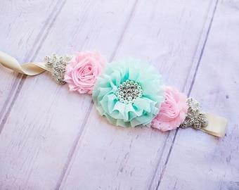 Rustic Bridesmaid Sash, Mint and Pink Bridesmaid Sash, Bridal Belt / Sash, Bridesmaid Sashes, Maternity Sash, Flower Girl Sashes