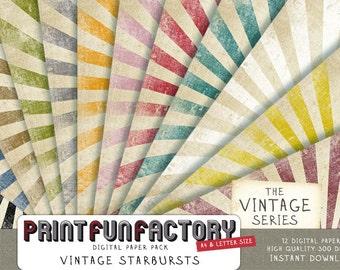 Starburst digital paper - sunburst vintage distressed scrapbook paper - 12 digital papers (#029) INSTANT DOWNLOAD