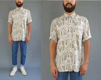 90s Abstract Southwestern Rayon Short Sleeve Button Up Shirt Vintage Rayon Button Up Shirt - Medium