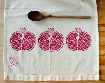Pomegranate, Dish Towel, Kitchen Towel, Kitchen Art, Hostess Gift, Gourmet Gift, Foodie Gift, Folk Art Style, Silk Screen, Ready to Ship