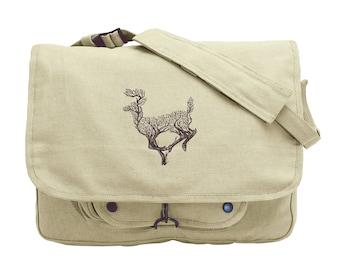 Branching Deer Embroidered Canvas Messenger Bag