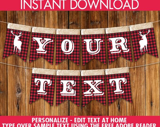 Lumberjack Banner - Lumberjack Party Banner, Lumberjack Decor - Lumberjack Birthday, First Birthday DIY - INSTANT Download Printable PDF