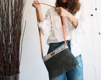 Tribal purse, Dark graphite bag, Vegan leather purse, Crossbody bag, Simple crossbody purse, Everyday bag, Messenger purse