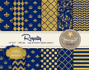 50% OFF Gold and Royal Blue Digital Papers, Royalty Papers, Gold Foil Digital Papers, Navy Blue and Gold Papers, Crown Digital Papers, Fleur