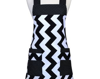 Japanese Crossback in Large Black Chevron - Retro Cross Over Womens Vintage Kitchen Apron with Pockets