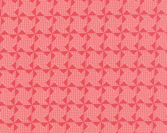 "2 remnants - a 9"" piece and an 11"" piece - Gooseberry - Pinwheels in Petal Pink: sku 5014-12 cotton quilting fabric by Lella Boutique"