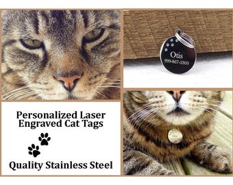 Cat Tag, Pet ID, Custom Pet Tag, Personalized Tags, Custom Cat Tag, Kitty ID, Stainless Steel Tags, Gifts for Pet Owners