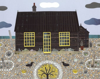 Derek Jarman·Prospect Cottage·Fine Art Print·Naive Art·Collage·Gift for Art Lovers·Dungeness·Seaside·Writers House·Beach Garden·Coast Art