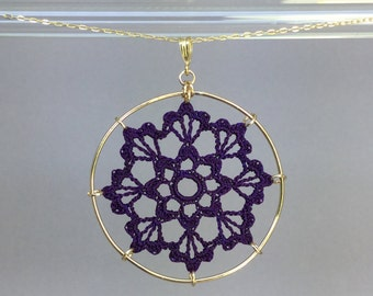 Scallops doily necklace, purple hand-dyed silk thread, 14K gold-filled