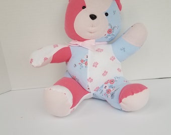 Pink and Blue Teddy bear - Baby CLothes Teddy Bear - Small Teddy Bear - Handmade Teddy Bear - Teddy Bear - Stuffed Bear - Stuffed Teddy Bear