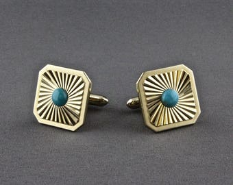 Vintage Diamond Cut And Turquoise Cufflinks By Swank