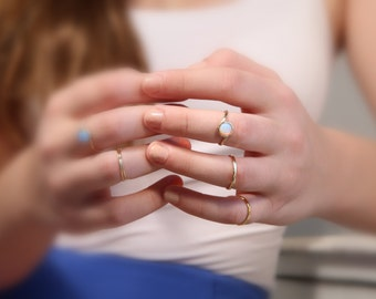 White opal ring,gold ring,gemstone ring,stacking ring, gold rings,Gold filled ring,opal birthstone ring,dainty opal ring,white opal - 5505