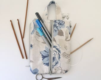 Project bag / blue rose floral make up bag/ knitting/ planner / notions pouch/ pencil case/ double zip pouch
