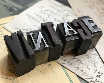 Vintage PRINTER'S Blocks- Wood Typeset Letters- VINTAGE- Typography- Industrial Printing Press- Vintage Letterpress Print Alphabet