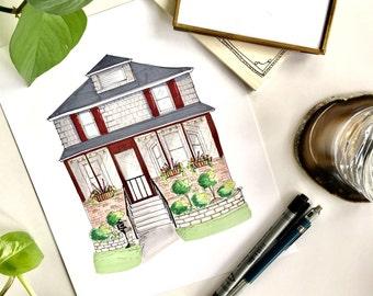 Custom House Portrait, House Illustration, House Sketch, Homeowner Gift, Wedding Gift, Gift for Bride, Hand Drawn Portrait, Gifts for Her