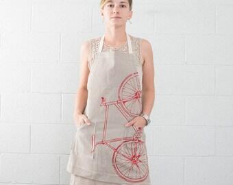 Fixie Striped Apron, Red Screen Print, Cotton Twill