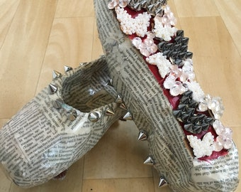 Newspaper Butterfly Handcrafted Pointe Shoes