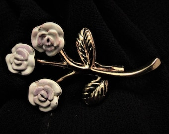 Vintage Lavender 3 Rose Enamel Brooch