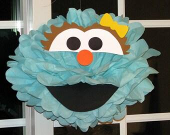 """Aqua Monster tissue paper pompom kit, inspired by """"Rosita"""" from Sesame Street"""