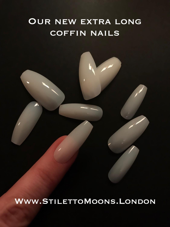 BALLERINA COFFIN Super long Natural false nails. 24 pieces sample size
