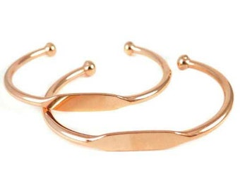Rose Gold Plated Engraving Cuff Bracelet (J610-D)