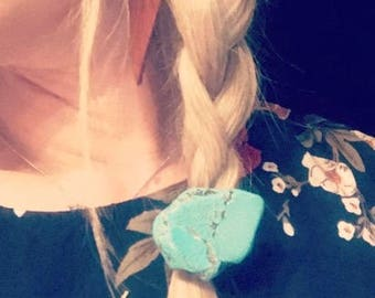 Turquoise Slab Ponytail Holder / Hair Tie