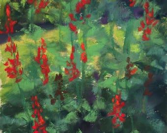 "Original Impressionist Landscape Pastel Painting, Red Salvia, 4"" x 6"""