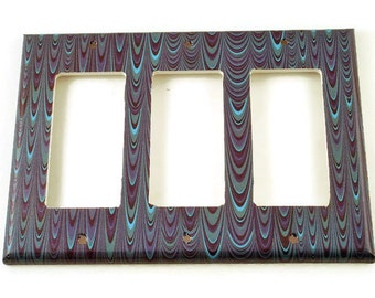 Triple Rocker Light Switch Cover Wall Decor Switchplate  Switch Plate in Blue Marble  (083TR)