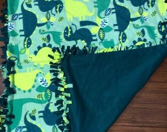 Dinosaur tie fleece blanket